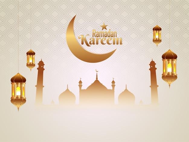 Płaskie islamskie karty z pozdrowieniami ramadan kareem tło