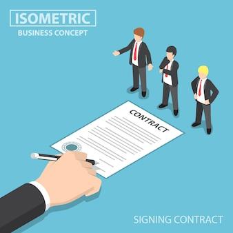 Płaskie izometryczne biznesmen ręcznie podpisywanie umowy przed ceo, dokonywanie transakcji biznesowych i koncepcji zatrudnienia