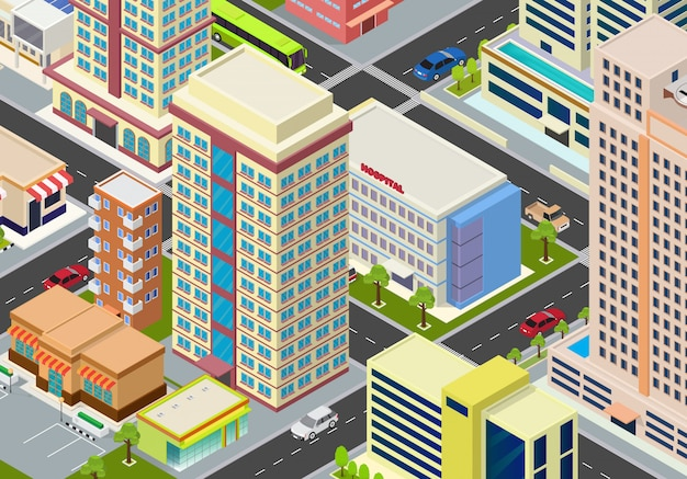 Płaskie izometryczne bloki megalopolis miasta