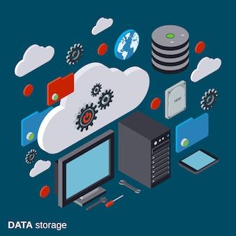 Płaskie izometryczne ilustracja cloud computing