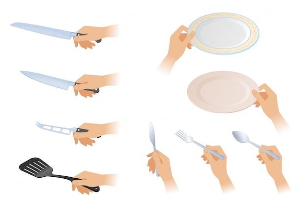 Płaskie izometryczne ilustracja rąk z różnych zestaw sztućców.