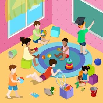 Płaskie izometryczne ilustracja z dziećmi bawiącymi się we wnętrzu przedszkola lub przedszkola