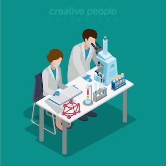 Płaskie izometryczne laboratorium naukowe eksperyment badania farmaceutyczne chemikalia