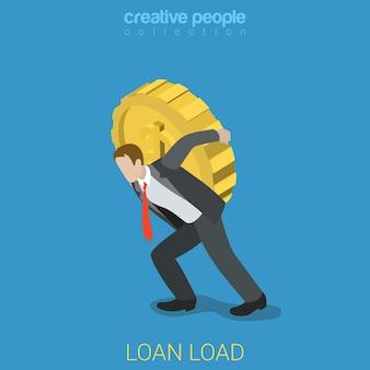 Płaskie izometryczne obciążenia kredytowe obciążają biznes finansowy