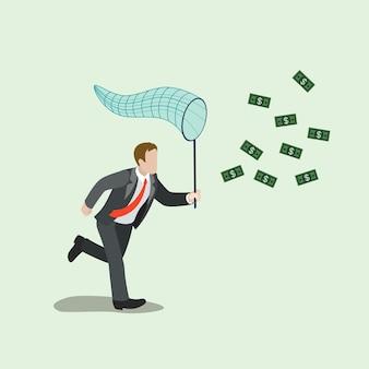 Płaskie izometryczne pieniądze łapanie koncepcji biznesowej