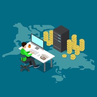 Płaskie izometryczne wydobywanie bitcoinów online