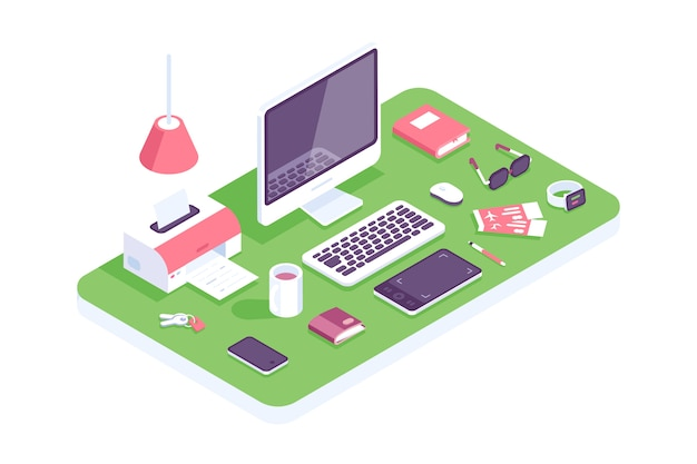 Płaskie izometryczny 3d technologia obszar roboczy koncepcja wektor. laptop, smartfon, tablet, książka, komputer stacjonarny, słuchawki, urządzenia, drukarka, zestaw fotela. miejsce pracy w domu, projektanci, to, biuro. dom