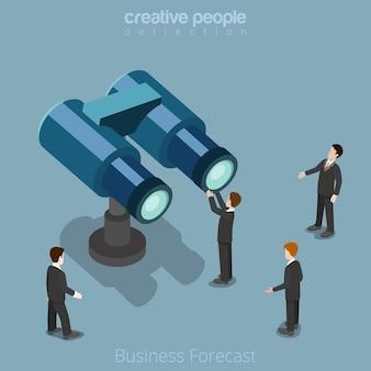 Płaskie izometryczny biznesmen patrząc przez lornetki koncepcja izometrii wizji przyszłości biznesu.