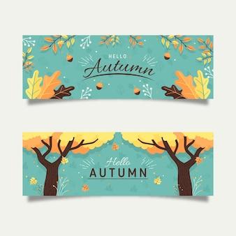 Płaskie jesień banery koncepcja