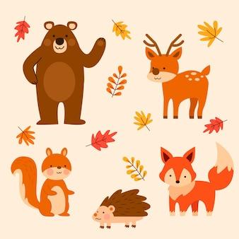 Płaskie jesienne zwierzęta leśne
