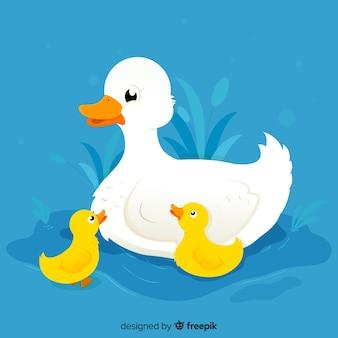 Płaskie kaczka matka i kaczątka z niebieskim tle