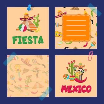Płaskie karty banknoty meksyk zestawu