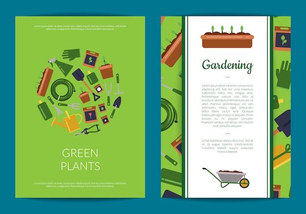 Płaskie karty ikony ogrodnicze lub szablon ulotki
