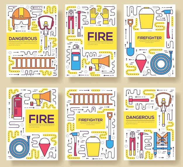 Płaskie karty mundurowe strażaka zestaw cienkich linii. pierwszy szablon pomocy ulotek, magazynów, plakatów.