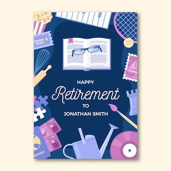 Płaskie karty z pozdrowieniami emerytury