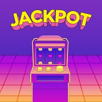 Płaskie kasyno maszyny neon wektor