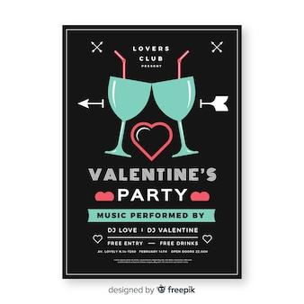 Płaskie kieliszki valentine party plakat