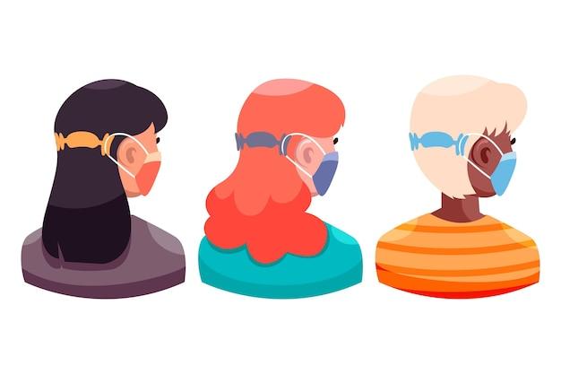 Płaskie kobiety noszące regulowany pasek maski medycznej