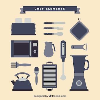 Płaskie kolekcja świetnych przedmiotów kucharzy