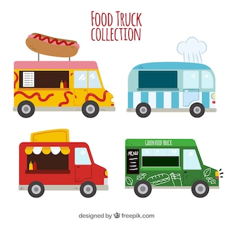 Płaskie kolekcja zabawnych ciężarówek spożywczych