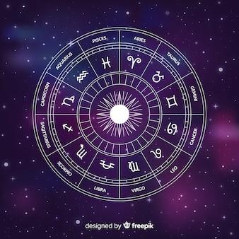 Płaskie koło zodiaku na tle galaktyki