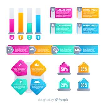 Płaskie kolorowe gradientowe infografiki elementów