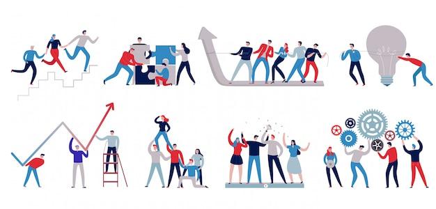 Płaskie kolorowe ikony pracy zespołowej z personelu pracującego razem na białym tle