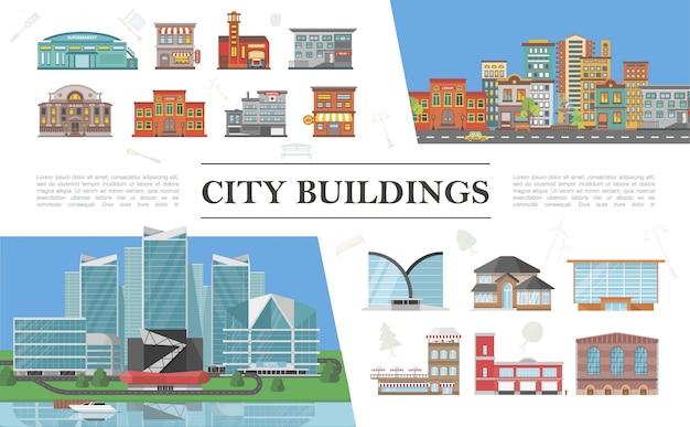 Płaskie kolorowe kompozycje krajobrazów miejskich z nowoczesnymi i miejskimi budynkami miejskimi poruszającymi się na drogowym jachcie pływającym po morzu w pobliżu hotelu
