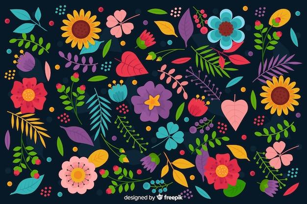 Płaskie kolorowe kwiaty i liście tło