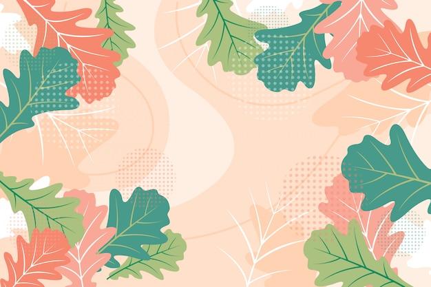 Płaskie kolorowe liście dębu kwiatowy tło