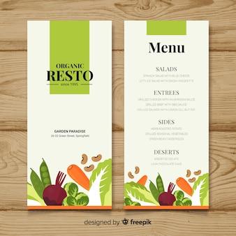 Płaskie kolorowe menu zdrowej żywności