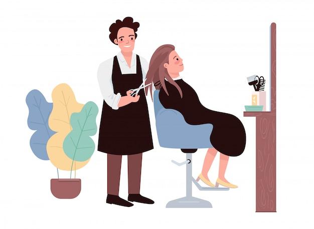 Płaskie kolorowe postacie fryzjerskie. fryzjer mężczyzna robi fryzurę. kobieta kaukaski klient coraz fryzurę. profesjonalny fryzjer. piękno salonu procedury kreskówki odosobniona ilustracja