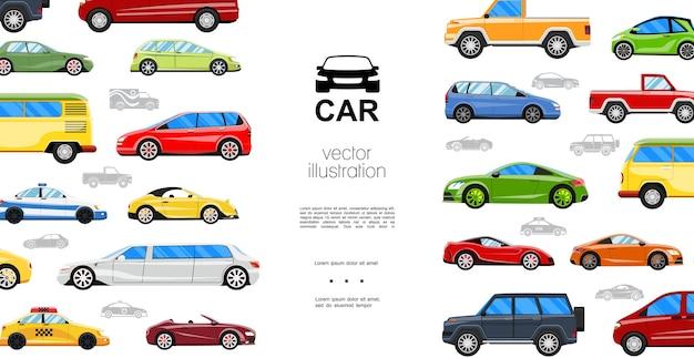 Płaskie kolorowe samochody szablon