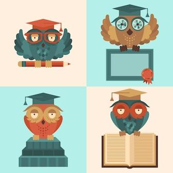 Płaskie kolorowe sowa w graduacyjnej czapki z książkami i dyplom sylwetka zestaw izolowanych ilustracji wektorowych