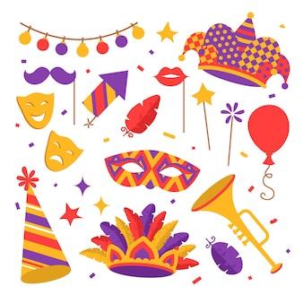 Płaskie kolorowe symbole karnawałowe, maska, fajerwerki, konfetti z żarówkami, trąbka i balon