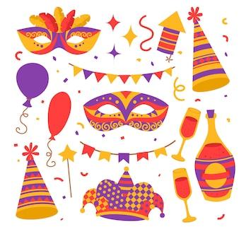 Płaskie kolorowe symbole karnawałowe, maska, kapelusz, butelka szampana w okularach, konfetti z flagami i balonami