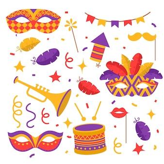 Płaskie kolorowe symbole karnawałowe, maski, fajerwerki, konfetti z flagami, trąbka i bęben