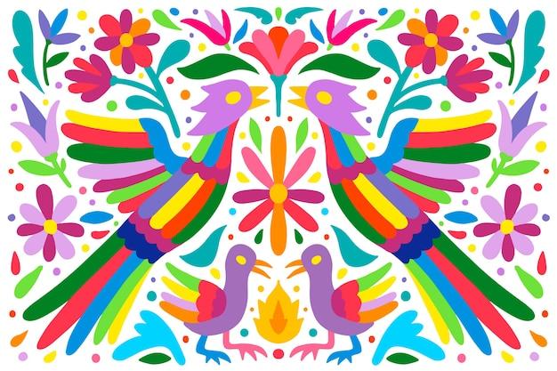 Płaskie kolorowe tło meksykańskie