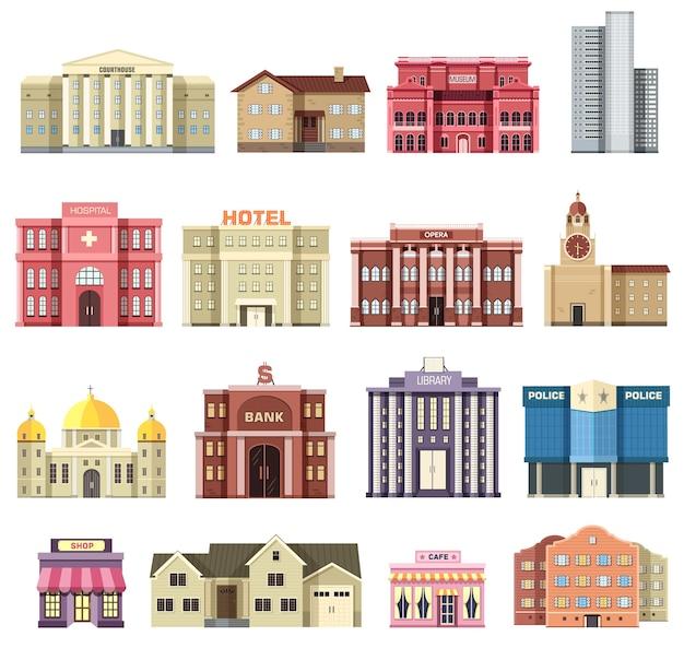 Płaskie kolorowe wektor zestaw budynków miasta