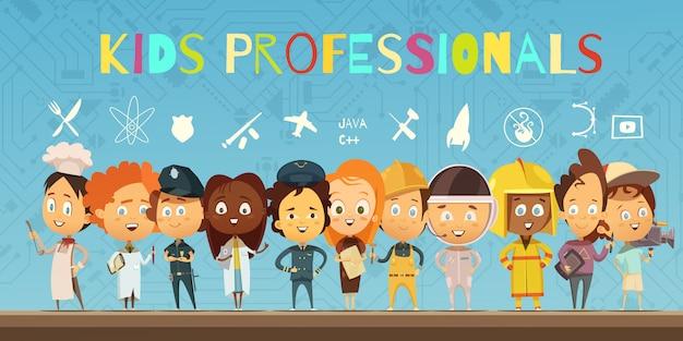 Płaskie kompozycja kreskówka z grupą dzieci ubrane w stroje profesjonalistów