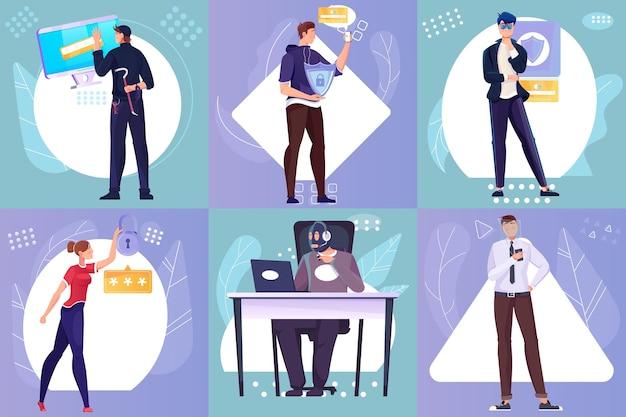 Płaskie kompozycje z chronionymi danymi osobowymi i ilustracjami hakerów