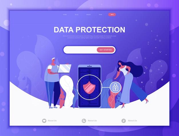 Płaskie koncepcja ochrony danych, szablon strony docelowej strony internetowej