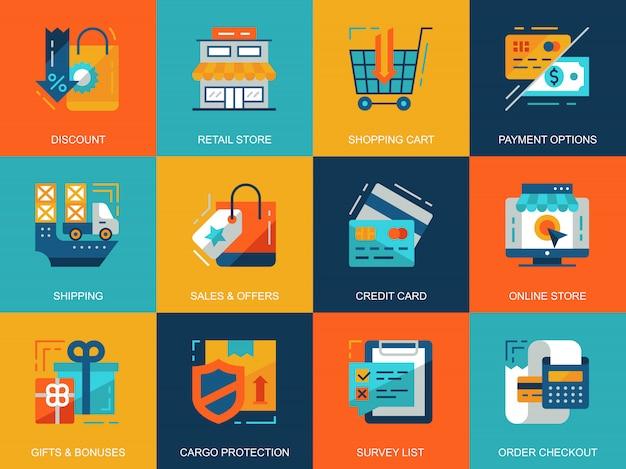 Płaskie koncepcje koncepcyjne zakupy i zestaw ikon e-commerce
