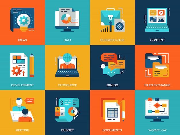 Płaskie koncepcje koncepcyjne zarządzania projektem zestaw ikon