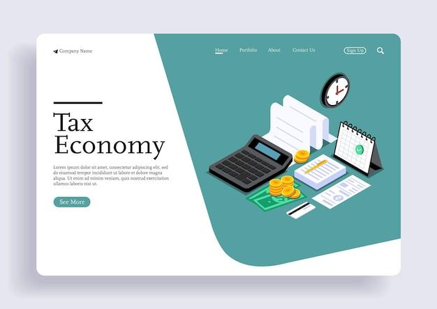 Płaskie koncepcje projektowania izometrycznego 3d dla biznesu i finansów koncepcje dotyczące podatków i finansów