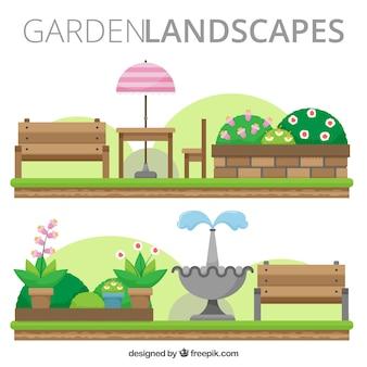 Płaskie krajobrazy ogród z ławkami