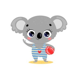 Płaskie kreskówka lato tropikalne zwierzęta na plaży. mała koala z piłką plażową