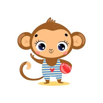 Płaskie kreskówka lato tropikalne zwierzęta na plaży. mała małpka z piłką plażową