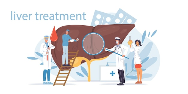 Płaskie kreskówka lekarz znaków w mundurach i symbole ilustracja choroby wątroby