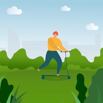 Płaskie kreskówka mężczyzna jazda na kick hulajnoga w parku.